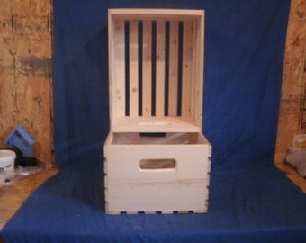 wooden crate, wood crate, wood storage crate, L.P. wood storage crate, wood box, L.P. crate, record  crate