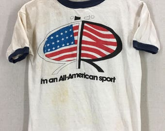 Vintage 70's Roosevelt Speedway American Racing Waterprint Ringer T-Shirt Fits like a Small