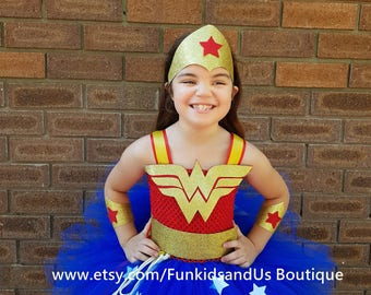 Wonder woman inspired Tutu Dress- Super hero Costume - Dress, crown and hand band  set