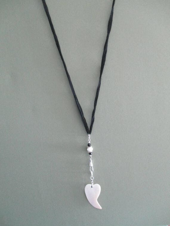 Black Onyx and Shell Heart Convertible I.D. Lanyard on Black Silk N16181