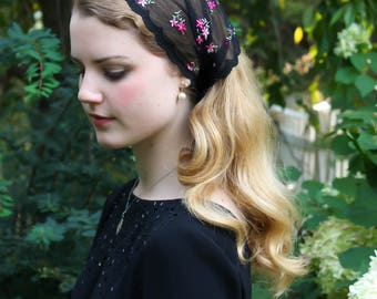 Evintage Veils~ So Soft Headwrap Embroidered Black & Rose Floral  Lace Headband Kerchief Tie-style Head Covering Church Veil