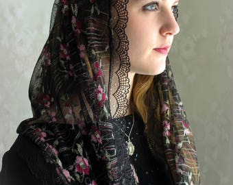 Evintage Veils~ Our Lady Rose Lace Chapel Veil Mantilla Infinity Latin Mass