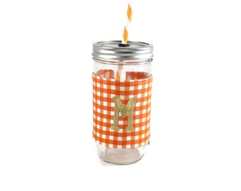 Orange and White Gingham Mason Jar Tumbler,Monogrammed Tumbler, Gingham Monogram Tumbler, Mason Jar Gingham Tumbler,Unique Gift,Personalized