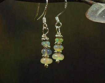 Natural Ethiopian Opal Earrings/ Sterling Silver Opal Dangling Earrings