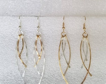 Hammered Dangle Sterling and Gold Filled Earrings