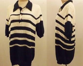 Vintage Kings Road Blue Stripe Short Sleeve Sweater Size XL