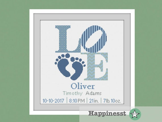 cross stitch baby birth sampler, birth announcement, LOVE, baby feet, baby boy, DIY customizable pattern** instant download**