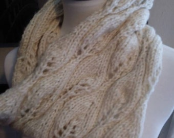Creamy White Soft Candleflame or Leaf Print Cowl Infinity Scarf