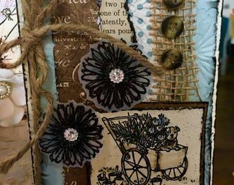 WHEELBARROW OF FLOWERS Handcrafted Love Greeting Card