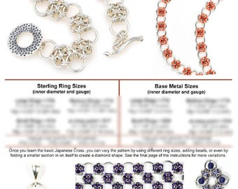 Chainmaille Tutorial - Japanese Cross Extended (Beginner) - PDF