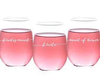Stemless Wine Glass, Bridesmaid Glasses, Custom Bridesmaid Wine Glass, Personalized Wine Glass, Wedding Party Wine Glass, SWG205