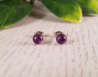 Amethyst Natural Gemstone Stud Earrings