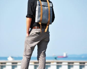 Men's backpack leather, gray canvas rucksack, canvas minimalist backpack, contemporary bag, geometric backpack