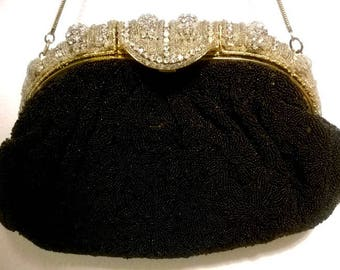 Gorgeous and Stunning Hand Beaded Evening Purse with Rhinestone Embellished Frame - Vintage