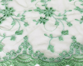 Green Lace Fabric, Renaissance Fabric for Costumes Dresses, Grass Green Scalloped Fabric, Wedding lace fabric For bridesmaid Dresses,