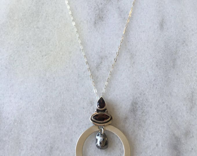 Featured listing image: Red garnet jewelry - Meteorite pendant