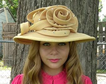 Ms Divine  Church Hat Rhinestone Flower Hat Wedding Hat Formal Kentucky Derby Hat  Large Flower Hats
