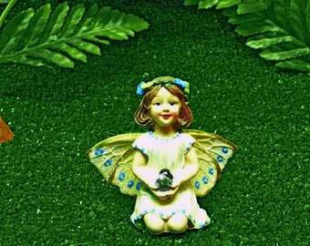 Fairy Garden Figurine Fairy with Miniature Snail Fairy Accessory Fairy in Creamy Yellow Dress Woodland Fairy House Fairy Miniature Fairy