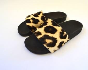 Real Fur Slides, leopard rubber Fur slippons ,fur flip flop, fluffy fur shoes , fur pool sliders, genuine cavillino fur slippers, fur pelt.