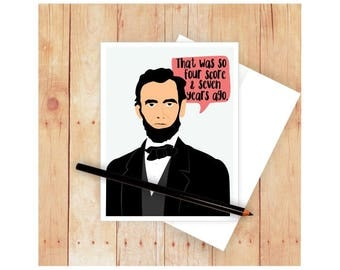 Abraham Lincoln Card, Funny Cards, Thank You Cards, Appreciation Card, American President, Blank Cards, Notecards, Funny Birthday Cards