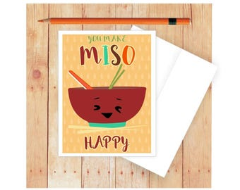 You Make Miso Happy, Funny Greeting Card, Funny Love Card, Blank Note Card, Cute Thank You Card, Appreciation Card, Miso, Sushi
