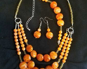 Orange Beaded Set