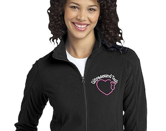 Women's Ultrasound Tech fleece jacket- Customizable Jacket with Colors and Font options