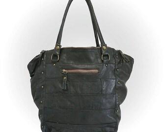 "mon ""Pomplune"" handbag , leather , tote , , upcycled , fourre-tout ,crossbody , shopping bag"