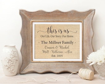 This is Us TV Show | This is Us Sign | This is Us Family Name Sign | Our Life Our Story Sign | This is Us Burlap Print | Mother Day Gift Mom