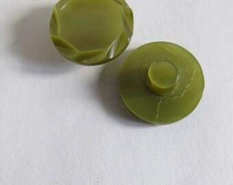 Button round vintage olive green