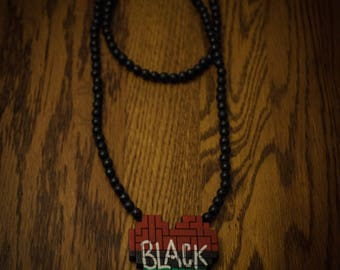 RBG Heart w/ BLACK on Wood Beaded Necklace