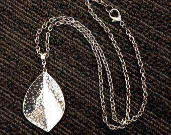 Hammered Leaf Pendant Necklace