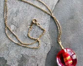 Pink and Gold Foil Murano Italian Glass Pendant Necklace
