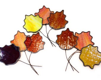Leaded Glass Fall Leaves