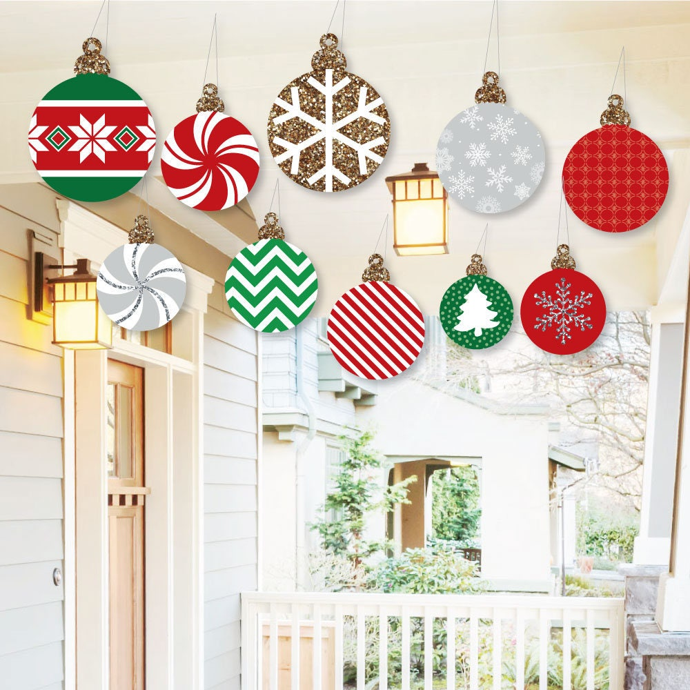 Hanging Ornaments Outdoor Christmas Porch & Tree Yard