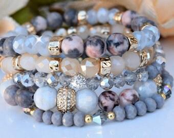 Bohemian Stretch Bracelets/Set of Five/Gemstones/Crystals/Bohemian