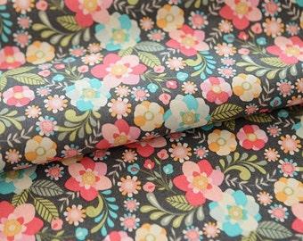 Pastel Tone Flower Pattern Cotton Fabric by Yard