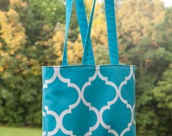 Handmade Tote, Aqua Tote, Tote bag,