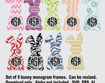bunny monogram frames svg digital download bunny monogram frames svg cut file bunny monogram frames bunny monogram frame download svg files