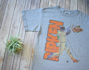 1996 CAL RIPKEN JR. Baltimore Orioles T-Shirt // Size Small Mens Womens // mlb Baseball Sports Tee 90s 1990s Lee Sport Stats Junior Orange