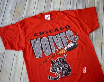 1994 CHICAGO WOLVES NHL Hockey T-Shirt // Size Large Mens Womens // 90s 1990s Red Tee Sports Artex Sportswear // Wolf Illinois Rosemont
