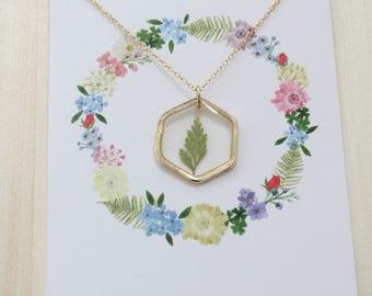 Fern Gold Hexagon Pressed Flower Necklace