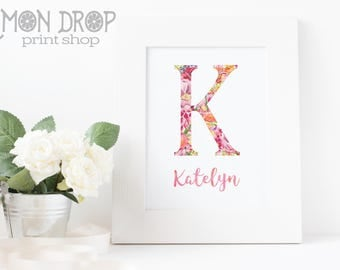 Name Artwork for Girls Nursery Floral Watercolor Wall Decor