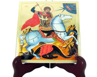Saint George and the dragon christian icon on ceramic tile - christian gifts serie - St George icon - christian saints - christian icons