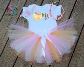 Tutu Outfit Pumpkin 1st Birthday, Bubble Gum Necklace, Bracelet, and Headband, Cake Smash Outfit, First Birthday Outfit, TU04