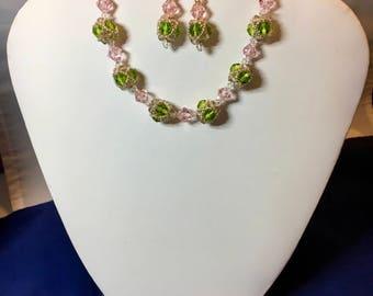Designer-pink and green crystal bracelet set