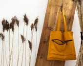 Linen tote bag - modern mustard yellow shoulder bag with zipper pocket - minimalist stylish bag by Linenspace