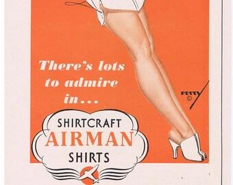 1942 George Petty Pin-Up Girl Shirtcraft Airman Shirts Print Ad