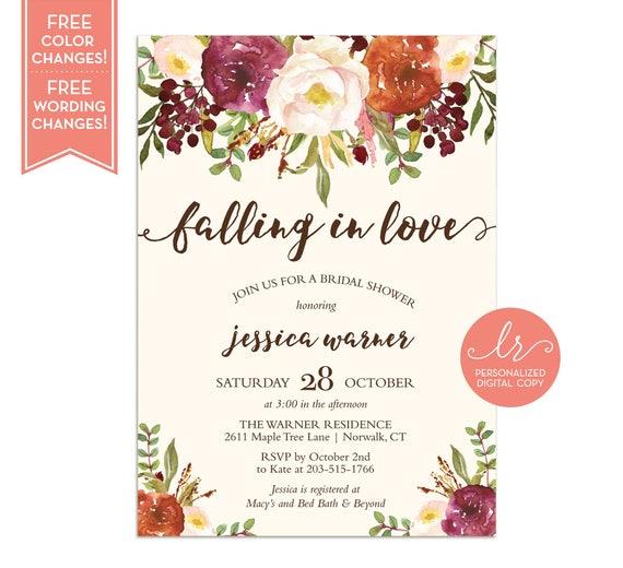 Fall Bridal Shower Invitation Fall in Love Bridal Shower