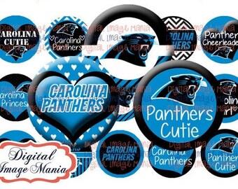 INSTANT Download Carolina PANTHERS Inspired 4x6 Digital Printable 1 Inch Circle Bottle Cap Images